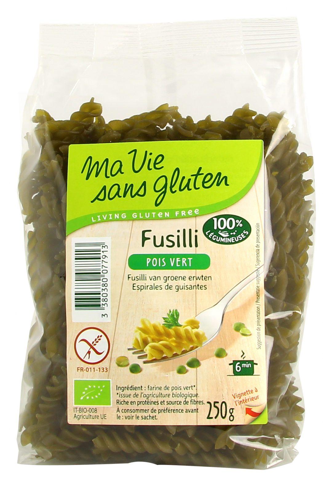 Ma vie sans gluten - Pâte - Fusilli pois vert - 250g