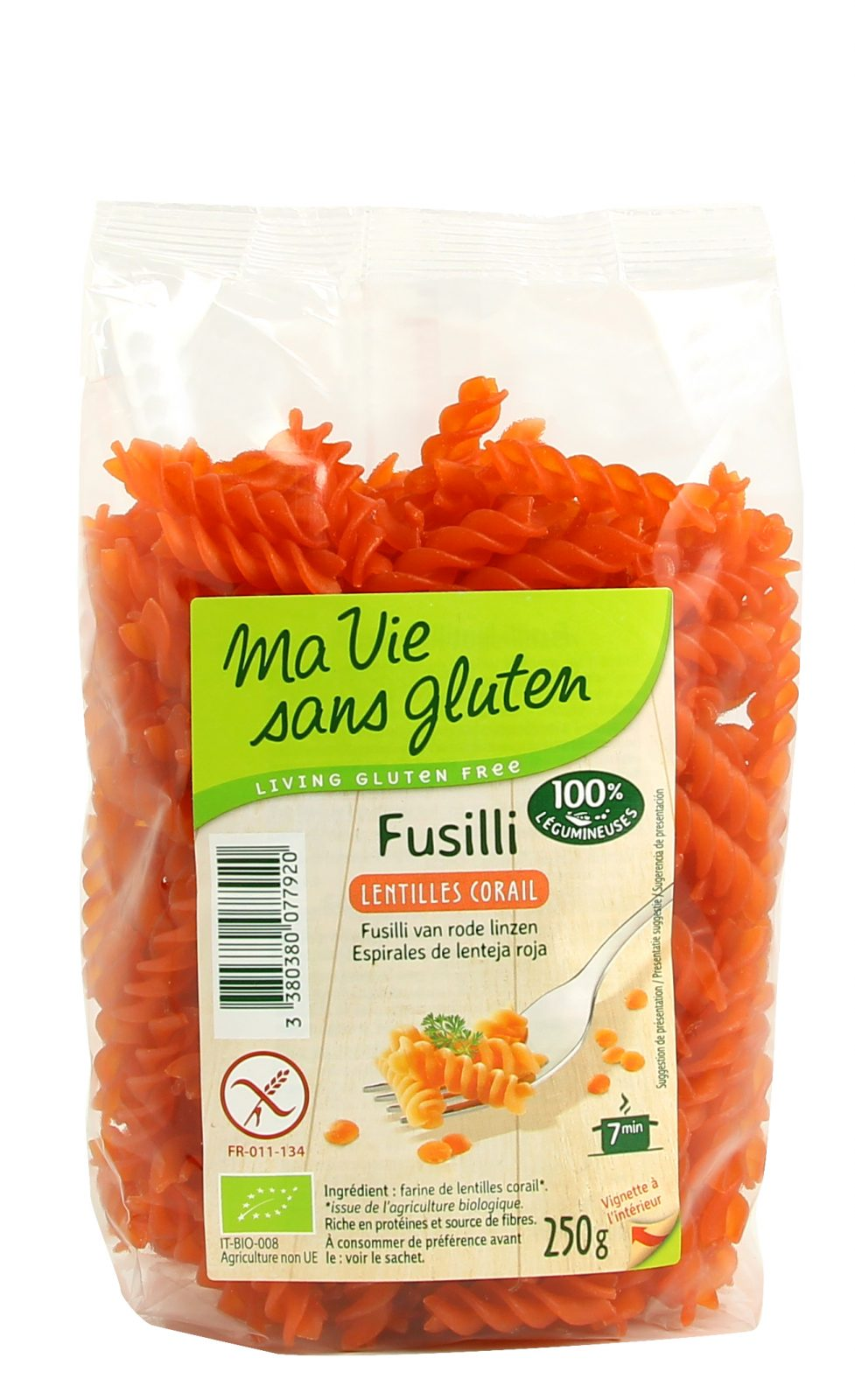 Ma vie sans gluten - Pâte - Fusilli lentilles corail - 250g