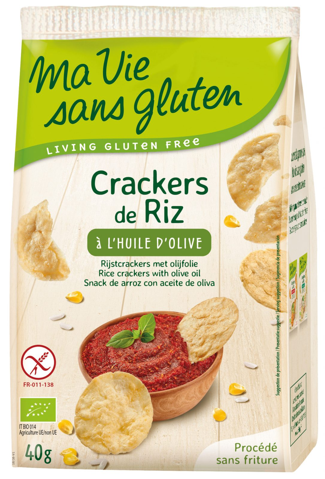 Ma vie sans gluten - Crackers - Crackers de riz à l'huile d'olive - 40g
