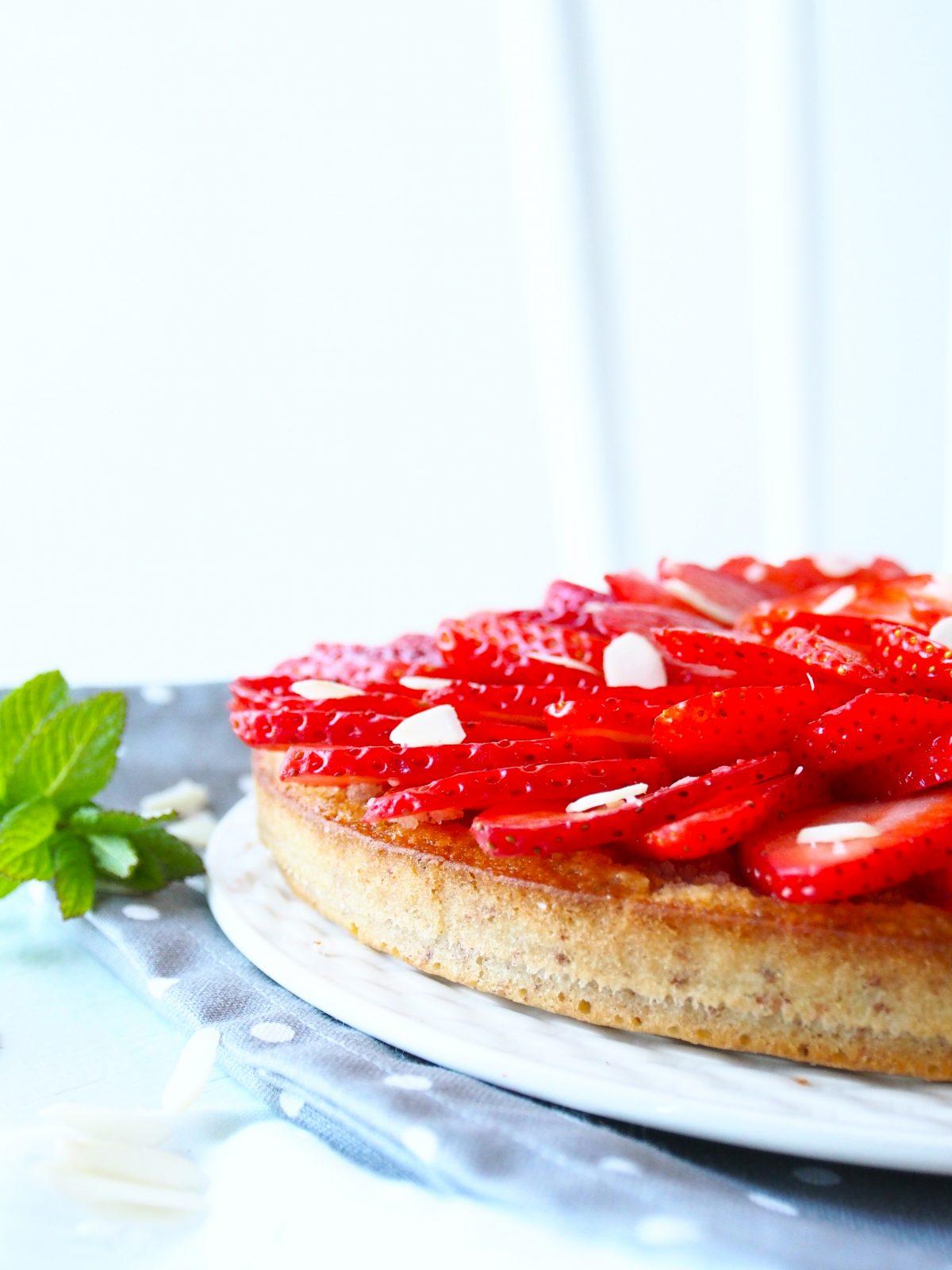 Tarte aux fraises et aux amandes sans gluten