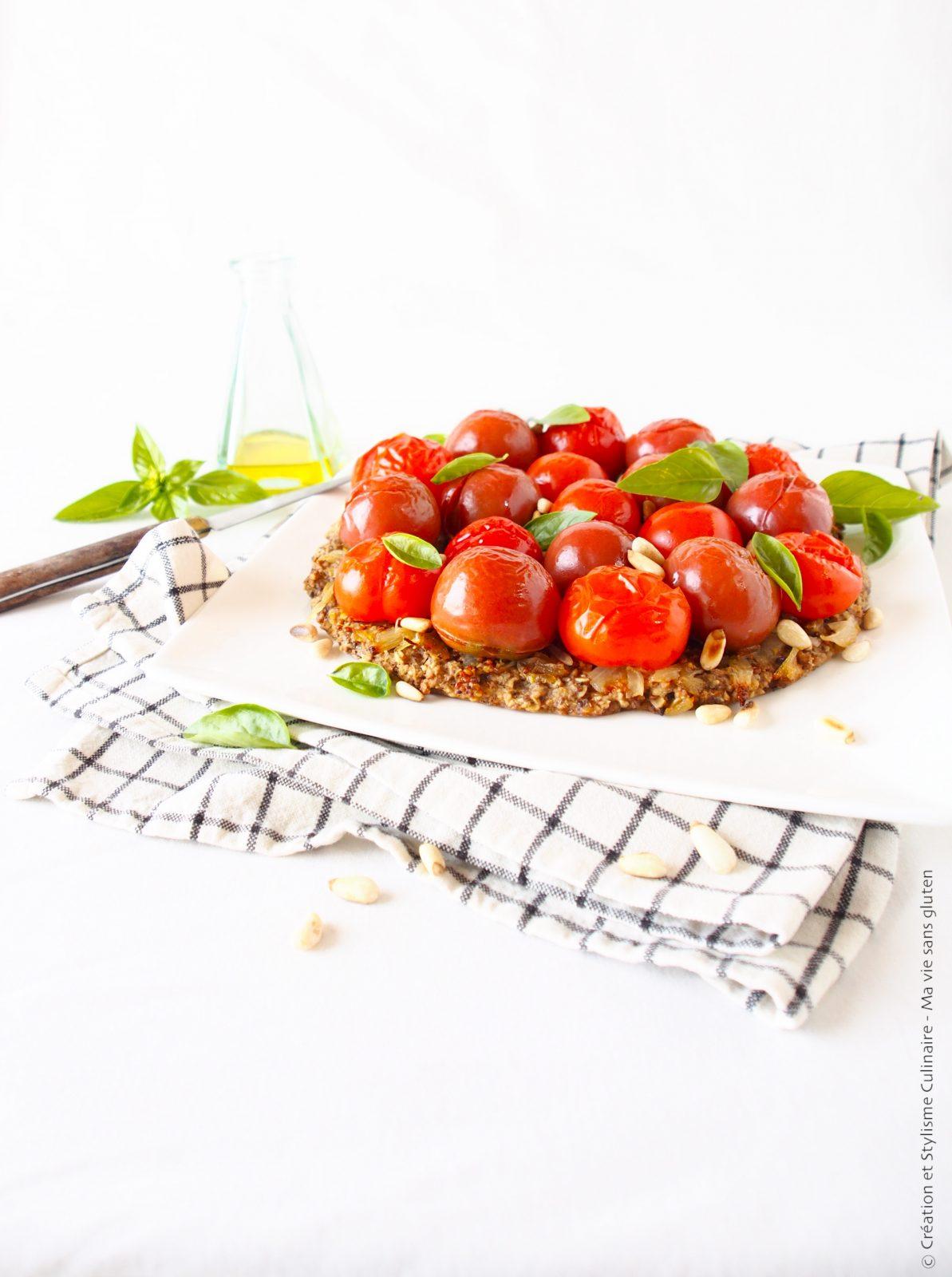 Tarte aux tomates cerises et flocons avoine-sarrasin sans gluten