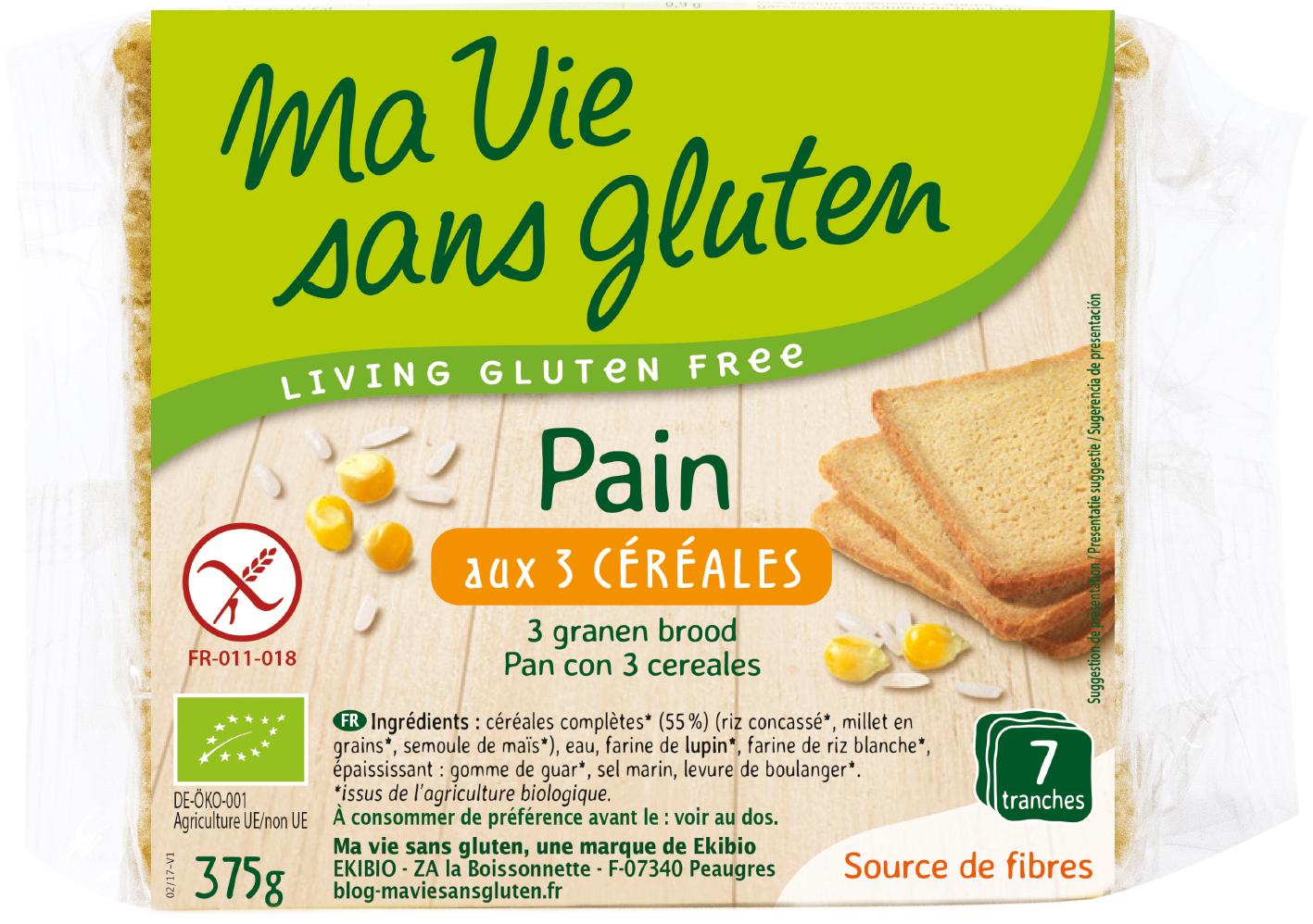 Ma vie sans gluten - Pain - Pain bio aux 3 céréales 375 g