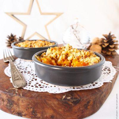 Entrée de Noël : Crumble de potimarron, noix et Tomme de brebis sans gluten