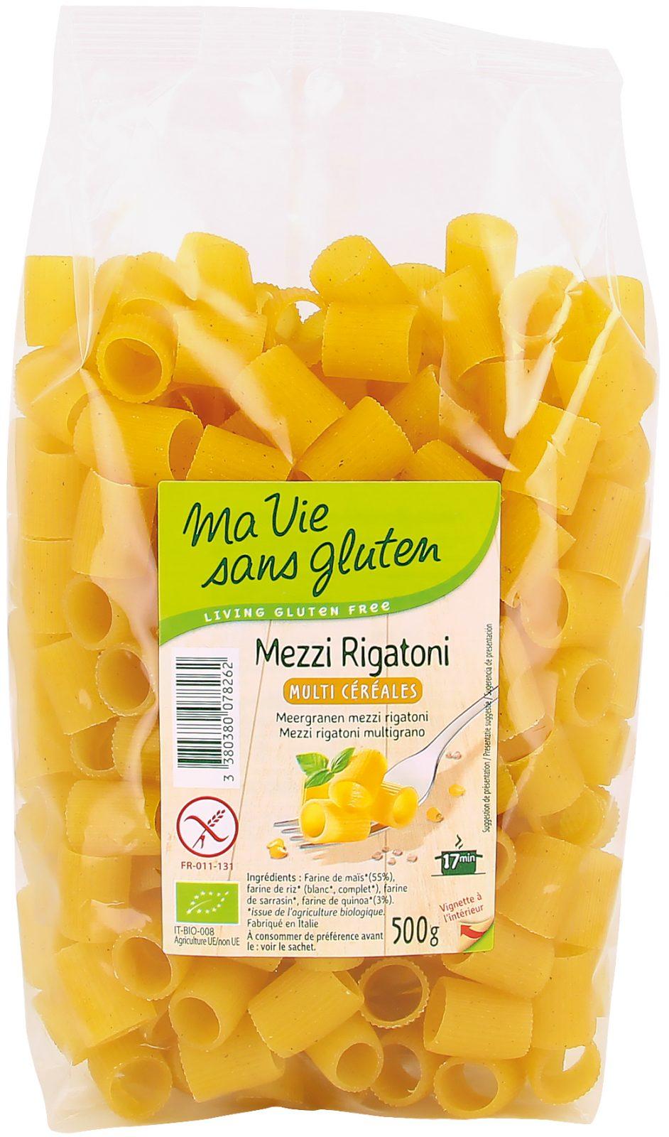 Ma vie sans gluten - Pâte - Mezzi Rigatoni multi céréales - 500g