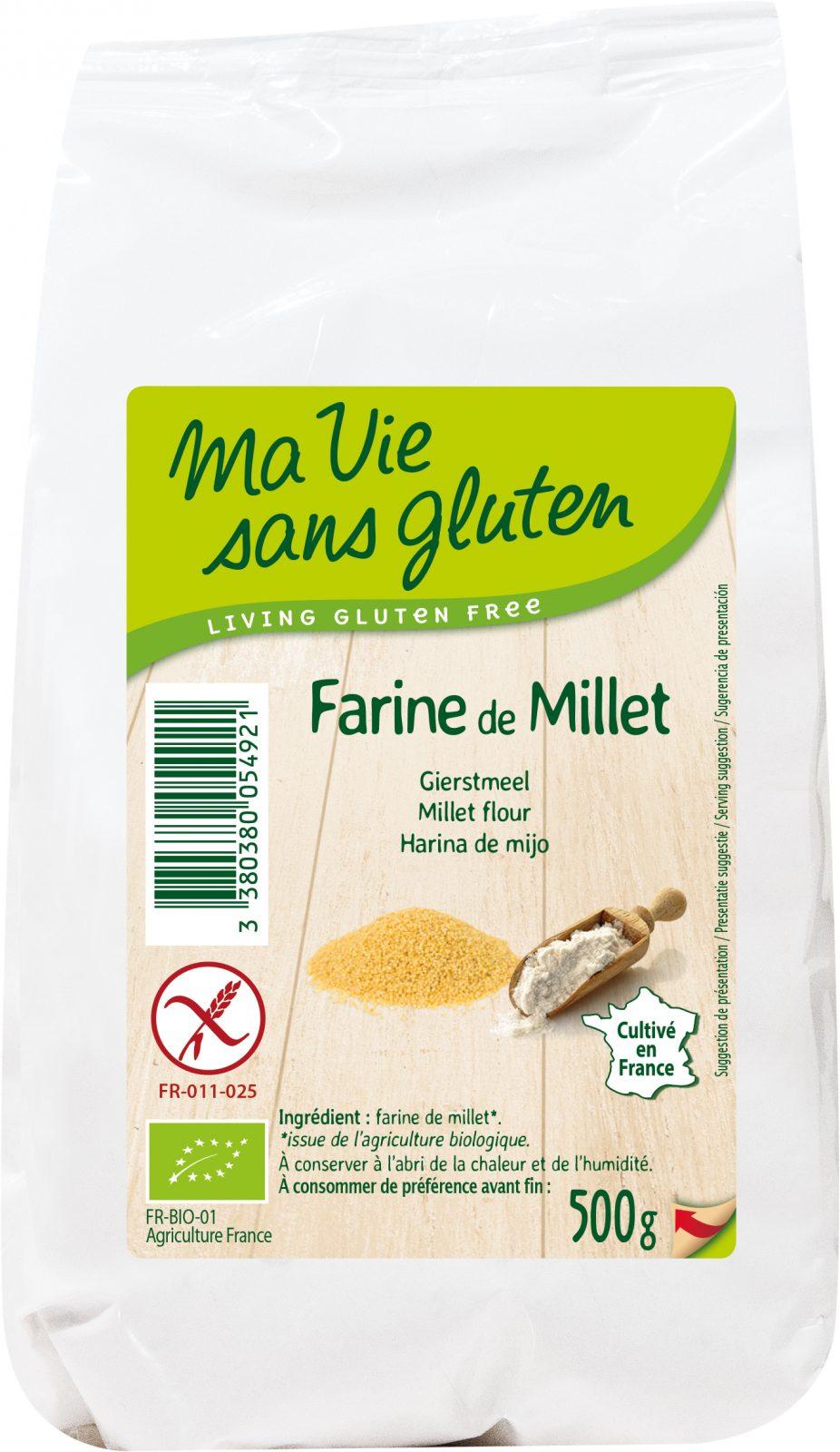 Ma vie sans gluten - Farines sans gluten - Farine de millet 500 g