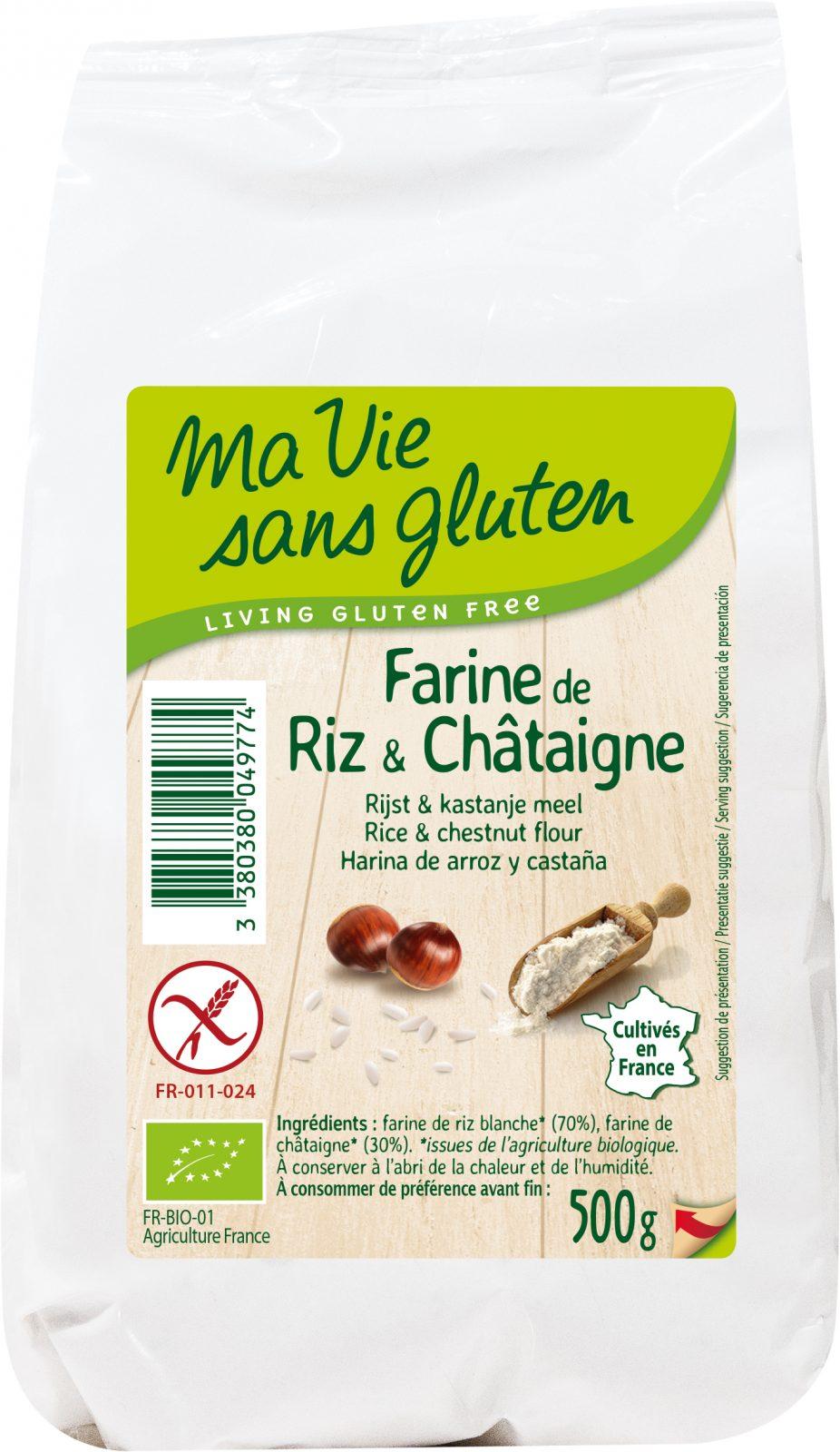 Ma vie sans gluten - Farines sans gluten - Farine de riz & châtaigne 500 g