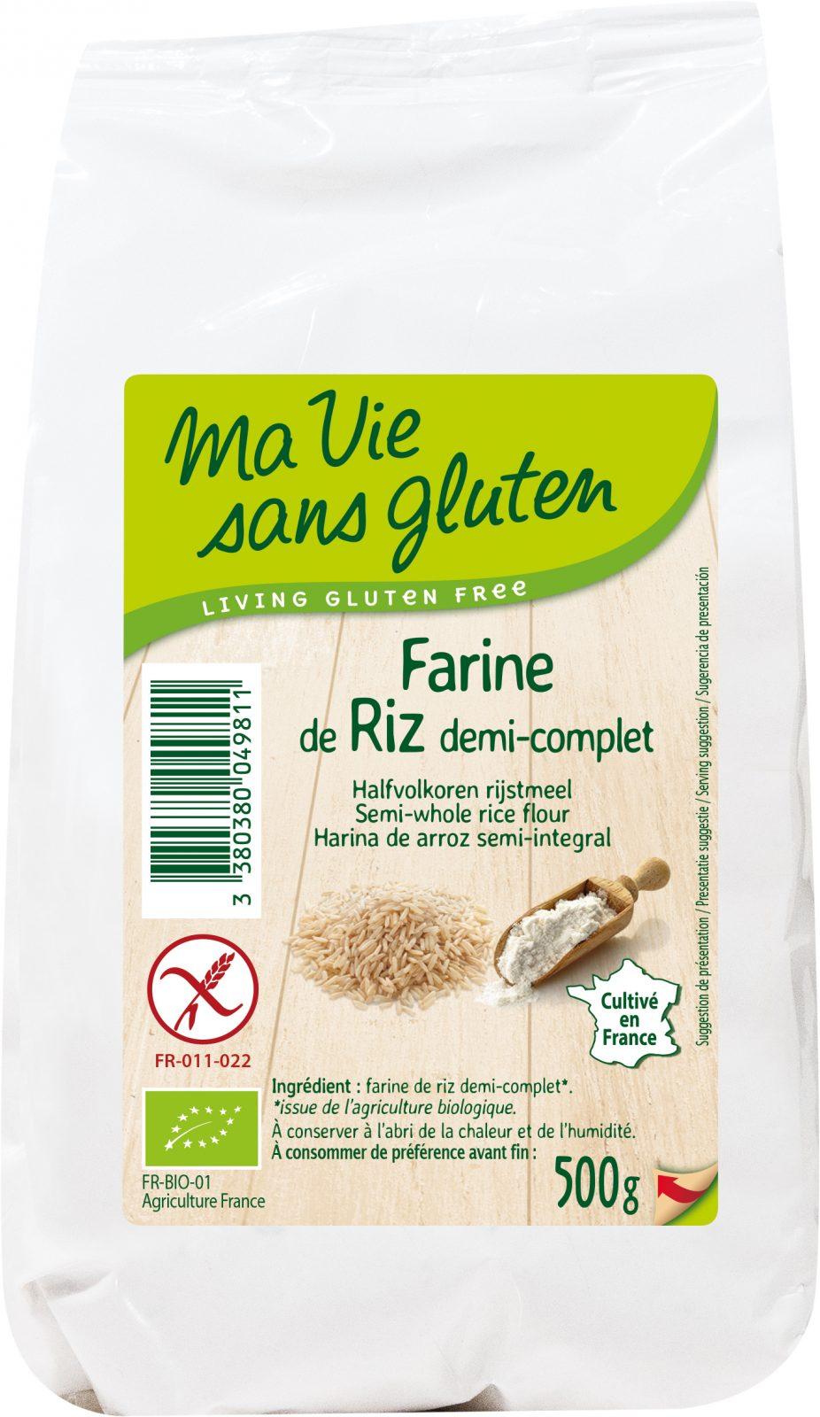 Achat produit farines sans gluten et bio : Farine de riz demi-complète