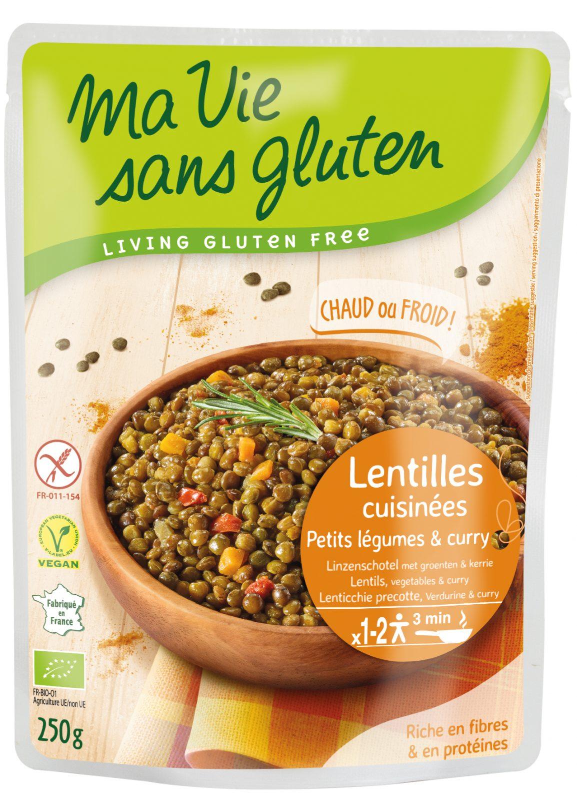 Ma vie sans gluten - Lentilles cuisinées - petits légumes & curry