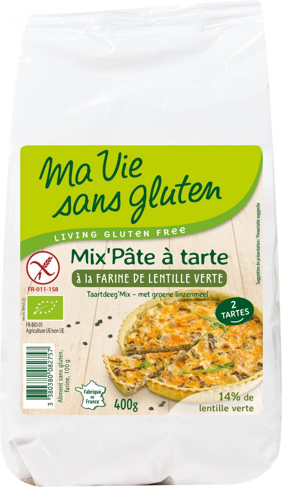 Ma Vie sans gluten - Aides à la panification & pâtisserie - Mix'Pâte à tarte à la farine de lentille verte 400g