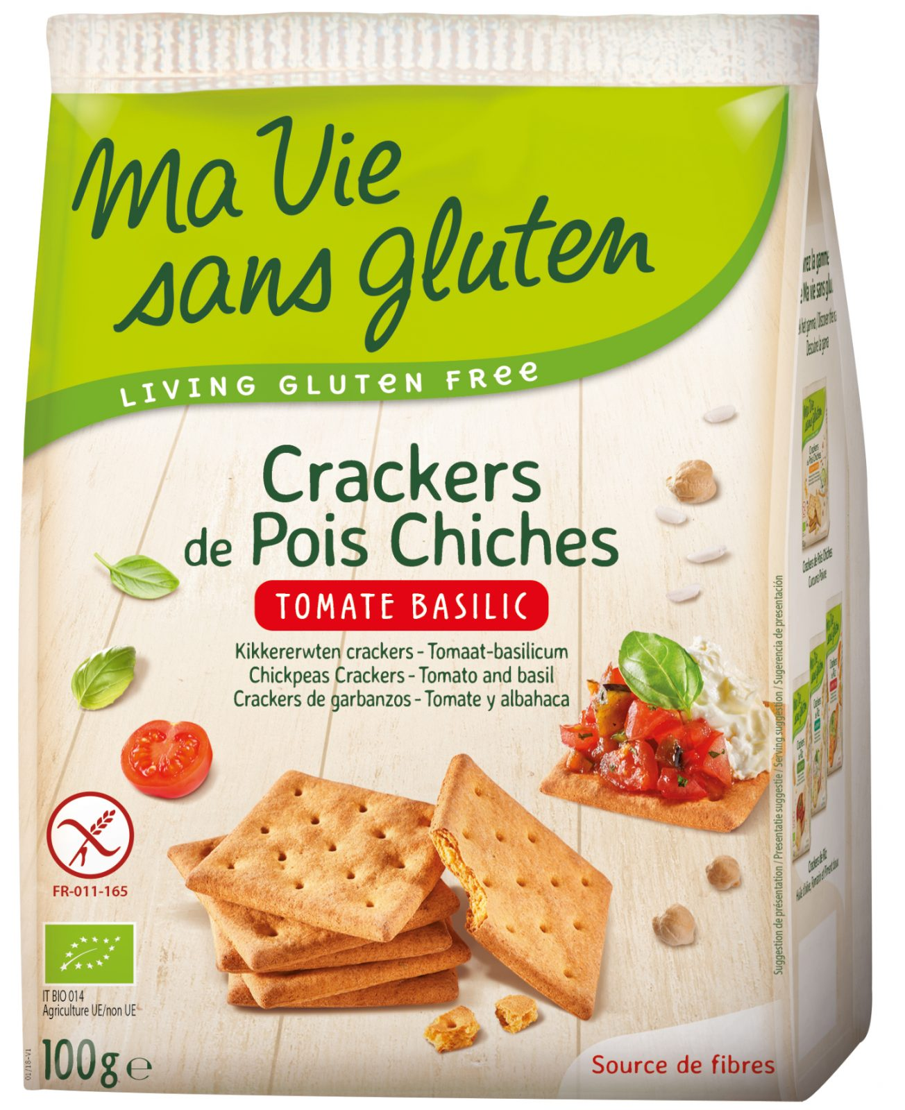 Crackers de pois chiches tomate basilic sans gluten