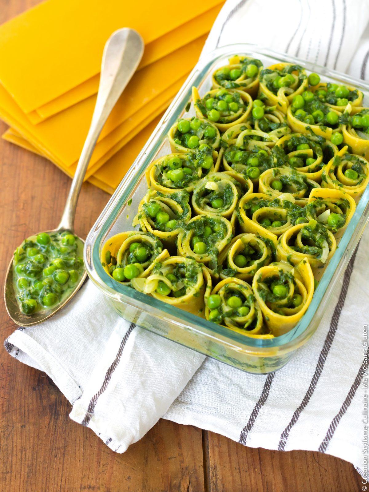 Lasagnes rolls sans gluten aux épinards