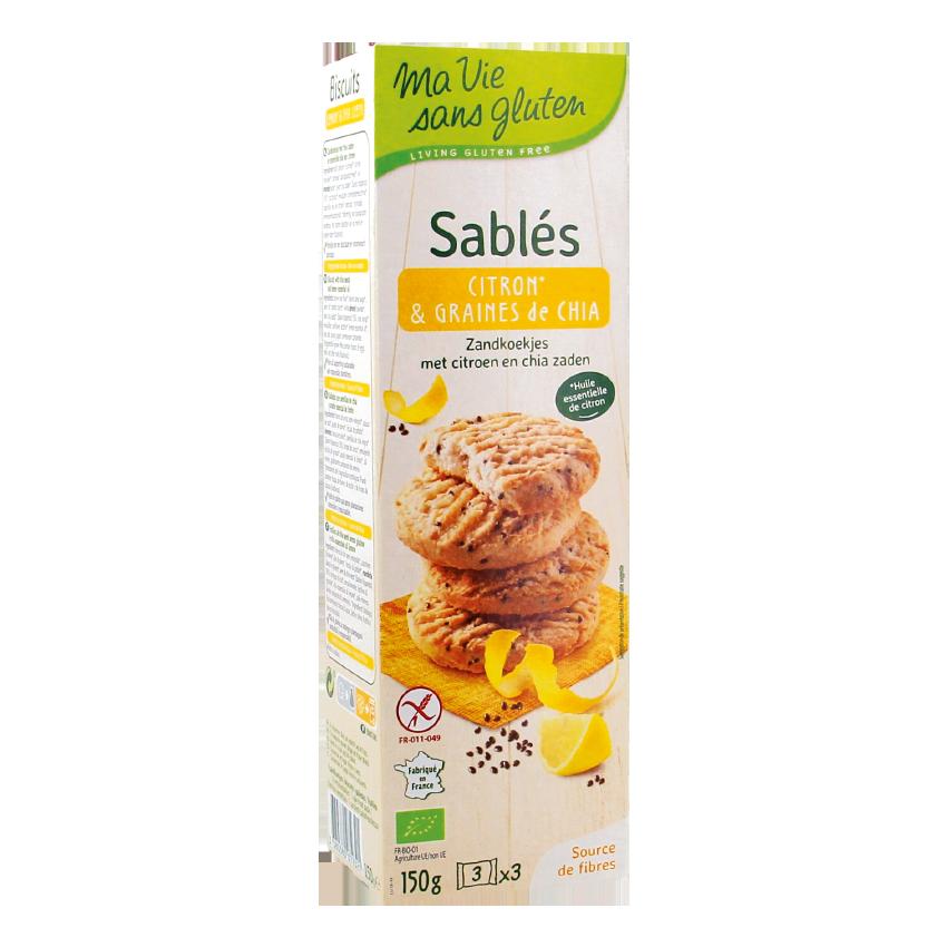 Ma vie sans gluten - Biscuits - Sablés citron et graines de chia - 150g