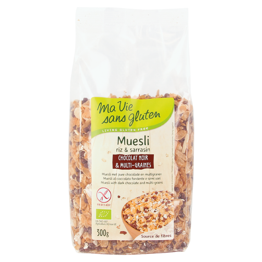 MVSG - petits déjeuners - Muesli bio chocolat noir et multi-graines - riz et sarrasin - 300g