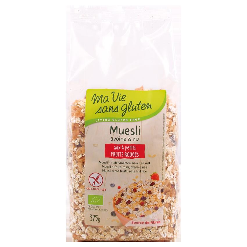 MVSG - petits déjeuners - Muesli bio aux 4 petits fruits rouges - avoine et riz - 375g