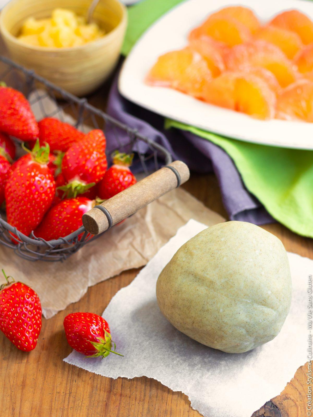 Tous les ingrédients de la tarte fraise pamplemousse