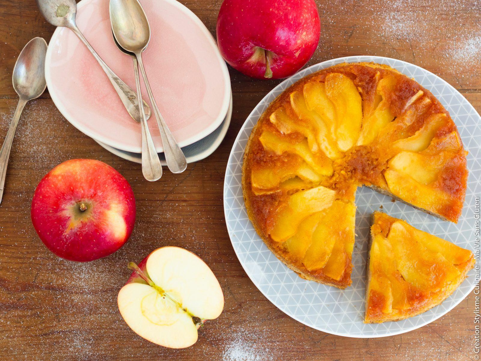 gâteau aux pommes renversé-5